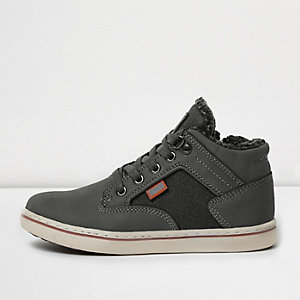 Boys grey tweed panel borg hi tops