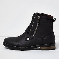 Boys black work boots
