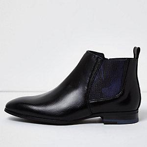 Bottines Chelsea en cuir motif camouflage noir pour garçon
