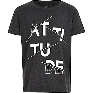 Boys grey 'Attitude' print t-shirt