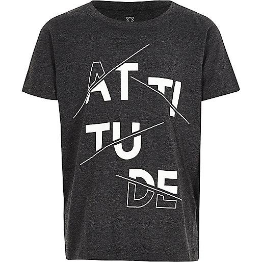 Boys grey 'Attitude' print t-shirt