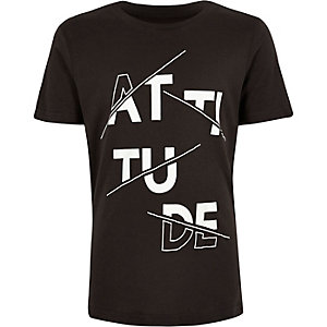 Boys charcoal 'Attitude' print T-shirt