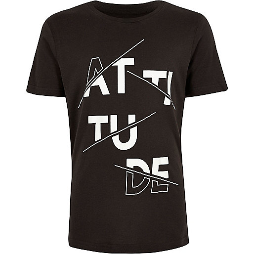 "T-Shirt mit ""Attitude""-Print in Anthrazit"