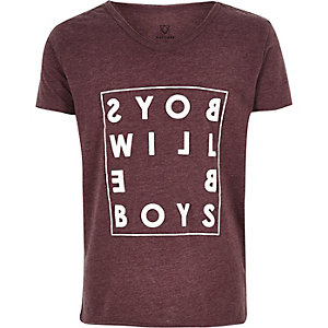 Boys dark red word print t-shirt