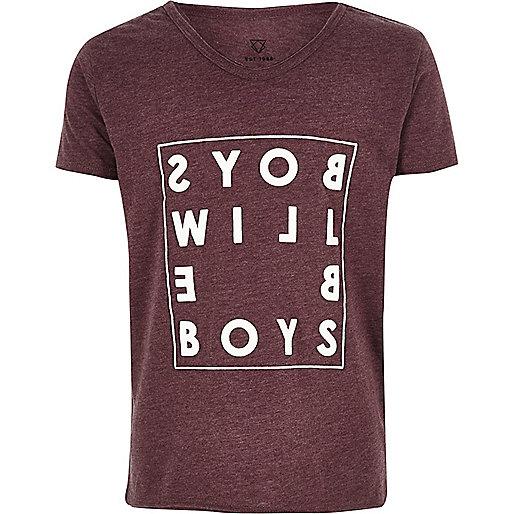 T-shirt imprimé mot rouge foncé pour garçon