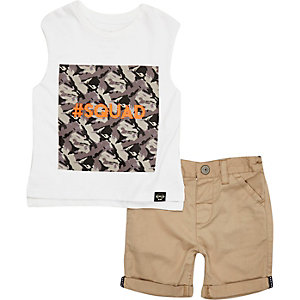 Mini boys white top and shorts outfit