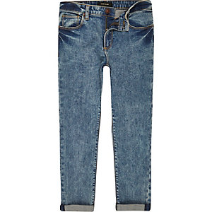 Boys blue acid wash skinny jeans