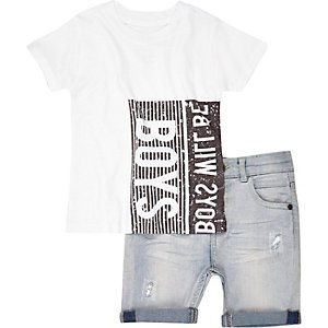 Mini boys white t-shirt and denim shorts outf