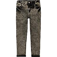 Schwarze Skinny Jeans in Acid-Waschung