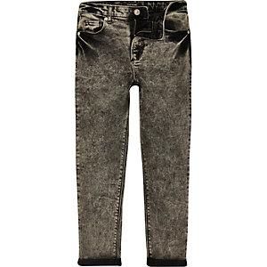 Boys black acid wash skinny jeans
