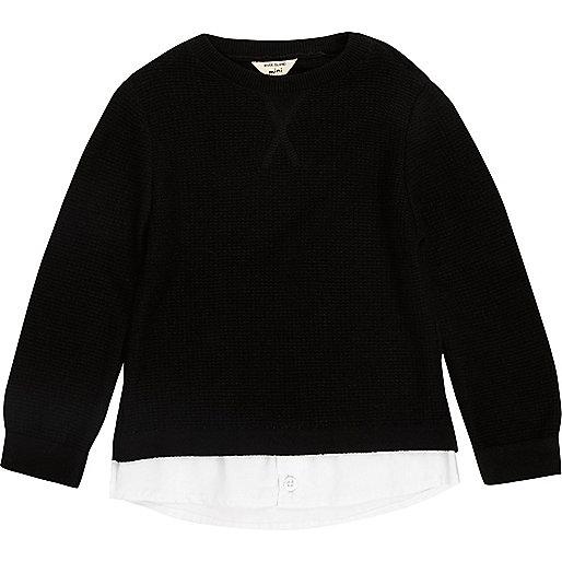 Mini boys black 2 in 1 shirt jumper