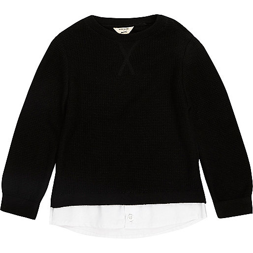 Mini boys black 2 in 1 shirt sweater