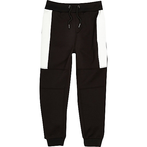 Boys black sporty panel joggers