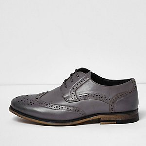Boys light grey leather look brogues