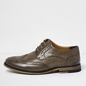 Boys dark grey leather look brogues
