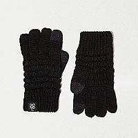 Gants texturés noirs compatibles écrans tactiles pour garçon