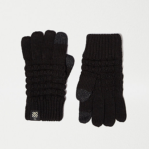 Boys black waffle touch screen gloves