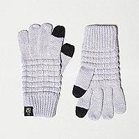 Graue Touchscreen-Handschuhe mit Waffelstruktur