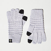 Boys grey waffle touch screen gloves
