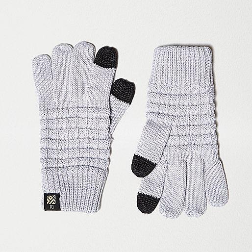 Gants texturés gris compatibles écrans tactiles pour garçon