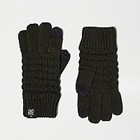 Boys khaki waffle touch screen gloves