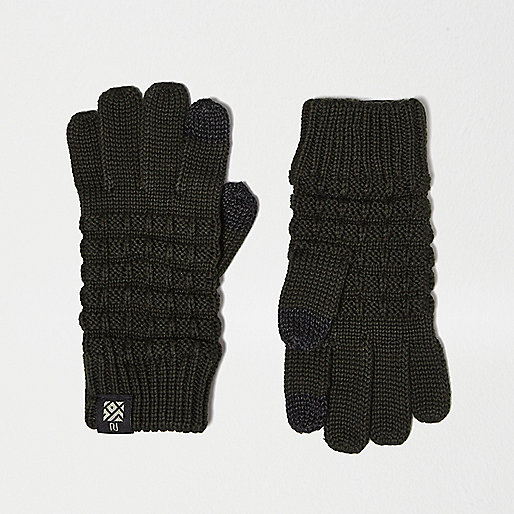 Boys khaki waffle touch screen gloves