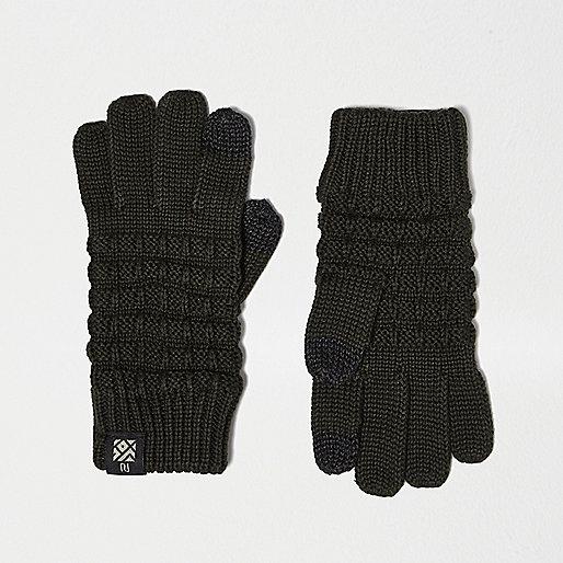 Gants texturés kaki compatibles écrans tactiles pour garçon