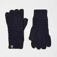 Boys navy waffle touch screen gloves