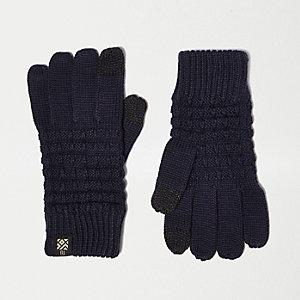Marineblaue Touchscreen-Handschuhe mit Waffelstruktur