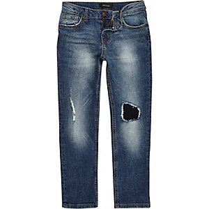 Boys blue wash ripped slim fit jeans