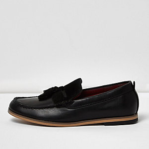 Boys black leather look tassel loafer