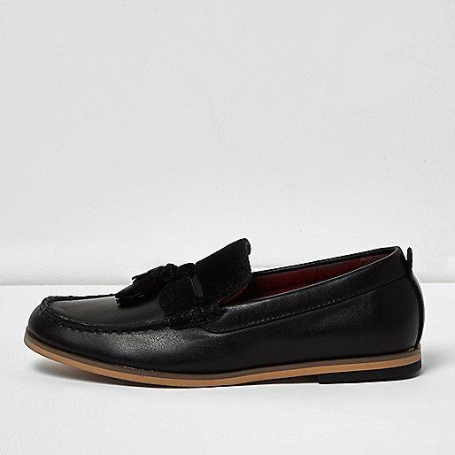Boys black leather look tassel loafer