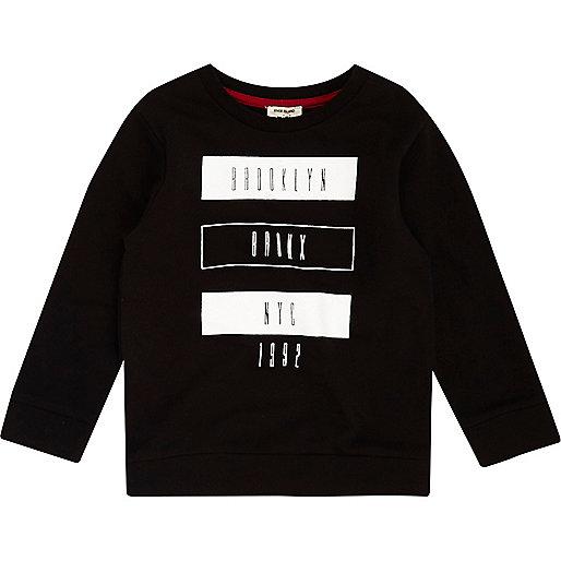 Mini boys black Brooklyn print T-shirt
