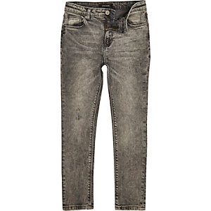 Boys grey washed Sid skinny jeans