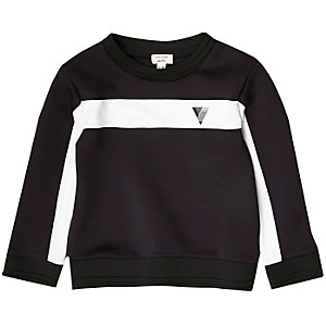 Mini boys navy colour block sweatshirt