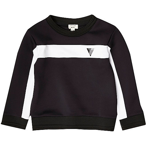 Mini boys navy colour block sweatshirt