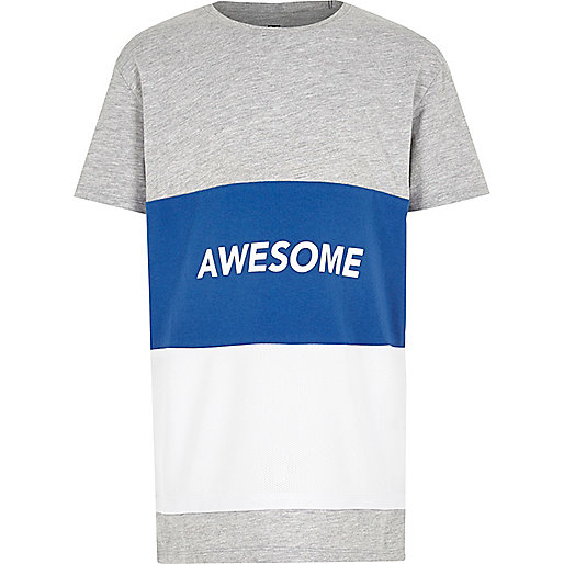 Boys blue colour block 'awesome' T-shirt