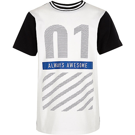 Boys white Newlife print t-shirt