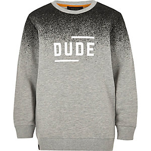 Boys grey faded print slogan sweatshirt