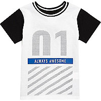 Mini boys white Newlife print t-shirt