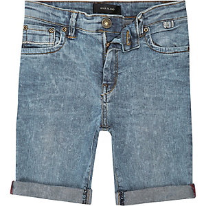 Boys blue wash slim fit denim shorts