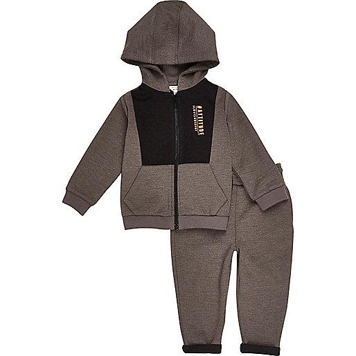 Mini boys grey 'Attitude' hoodie joggers set