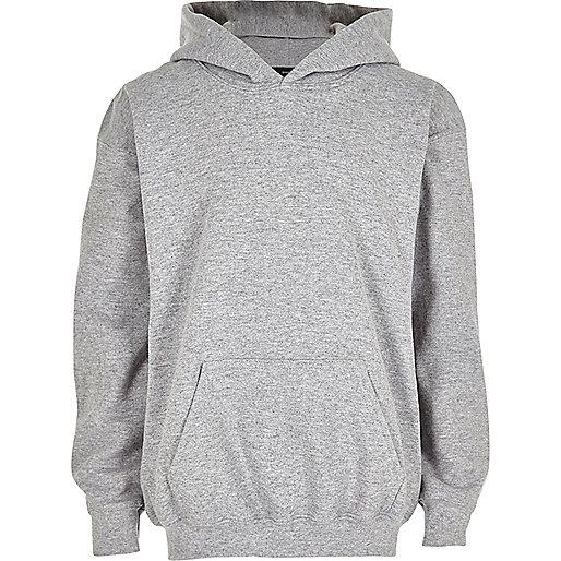 Sweat à capuche en coton gris pour garçon