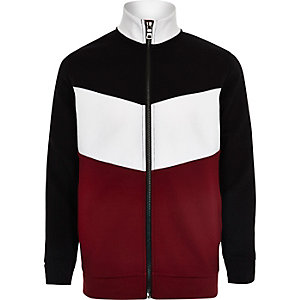 Boys red block track sweater