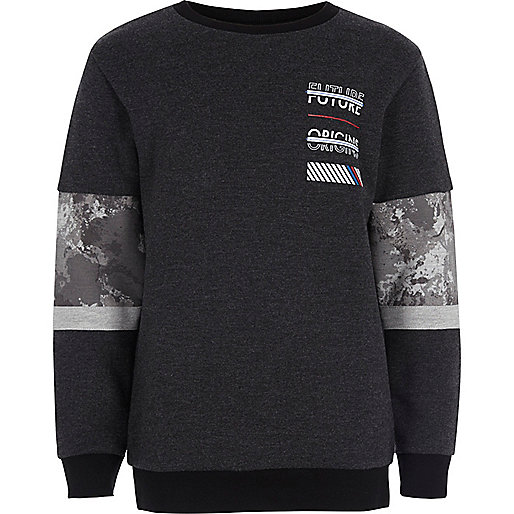 Boys grey block print sweatshirt
