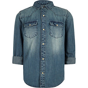 Boys blue wash western denim shirt