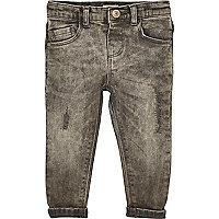 Mini boys grey distressed skinny jeans
