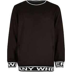 Boys black 'Anywhere' print sweatshirt