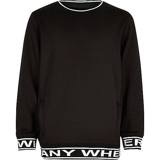 Boys black 'Anywhere' print sweatshirt