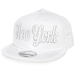 Boys white NYC flat cap